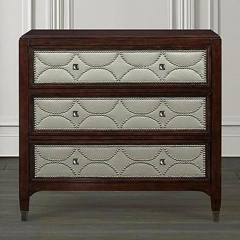 Storage Furniture - Decorative Chest I Bassett Furniture - contemporary geometric front chest, chest of drawers with nailhead trim, fabric and nailhead trimmed chest, chest with silver drawer fronts,