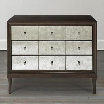 Storage Furniture - Accent Chest w/Mirror Drawers I Bassett Furniture - mirror front chest, contemporary mirror front chest, wooden chest with mirror front, antiqued mirror front chest,