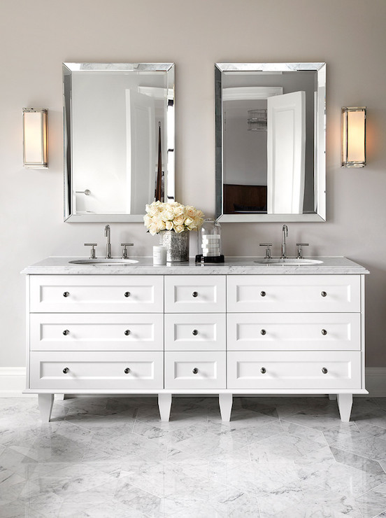 Beveled Vanity Mirror Contemporary Bathroom The