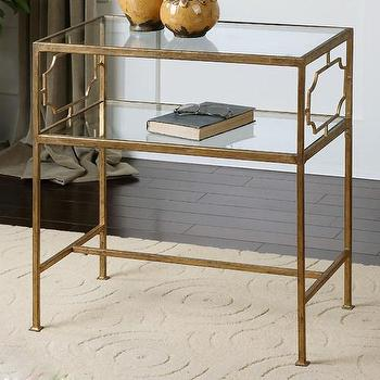 Tables - Uttermost Genell End Table | Wayfair - gold leafed iron end table, antiqued gold leaf end table, gold end table with glass shelf,