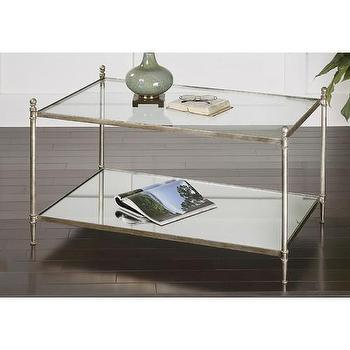 Tables - Uttermost Gannon Coffee Table | Wayfair - antiqued silver coffee table, silver leafed coffee table, silver coffee table with mirrored shelf,