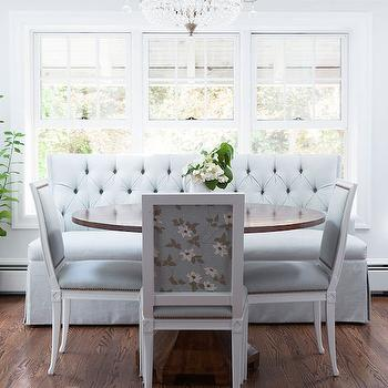 Blue Tufted Bench, Transitional, dining room, Lonny Magazine