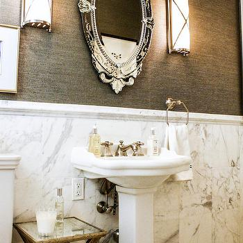Marble Wainscoting, Contemporary, bathroom, Mina Brinkley