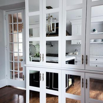 Lonny Magazine - kitchens - mirrored doors, mirrored cabinets, mirrored kitchen cabinets, floor to ceiling cabinets, floor to ceiling kitchen cabinets, mirrored cabinet doors,