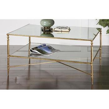 Tables - Uttermost Henzler Coffee Table | Wayfair - gold leafed coffee table, gold stretcher based coffee table, antiqued gold coffee table, gold coffee table with glass shelf,