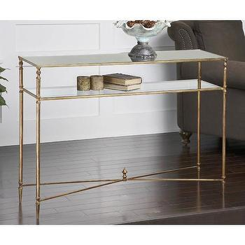 Tables - Uttermost Henzler Console Table | Wayfair - antiqued gold iron console table, gold console table with glass shelf, gold stretcher base console table,