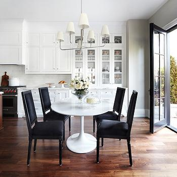 The Design Company - dining rooms - eat in kitchen, 6 light chandelier, oval dining table, saarinen dining table, oval saarinen dining table, saarinen oval dining table, black dining chairs, black velvet dining chairs, ,
