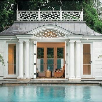 pools - pool house, pool house ideas, folding doors,  Folding doors open to pool house.