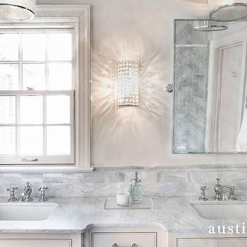 Austin Bean Design Studio - bathrooms - ivory washstand, ivory vanity, ivory double washstand, ivory double vanity, his and her sinks, gray marble, gray marble countertops, gray marble subway tiles, pivot mirror, rectangular pivot mirror, bling sconce, bling wall sconce, shaving mirror, accordion shaving mirror,
