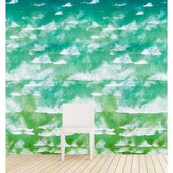 Wallpaper - Waves of Cape Town Wallpaper I Gray Malin - wave print wallpaper, turquoise waves wallpaper, wave patterned wallpaper,