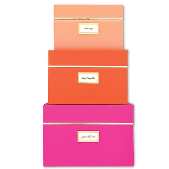 Decor/Accessories - Kate Spade Neon Nesting Boxes (3 Boxes) I Rachel George - pink and orange nesting boxes, hot pink storage box, bright orange storage box, pink and gold storage box, orange and gold storage box,