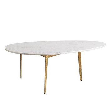 Tables - Mid-Century Egg Table | Wisteria - egg shaped mid century table, marble mid century table, gold marble topped table, gold mid century marble table,