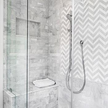 Chevron Shower Tiles, Transitional, bathroom, Austin Bean Design Studio