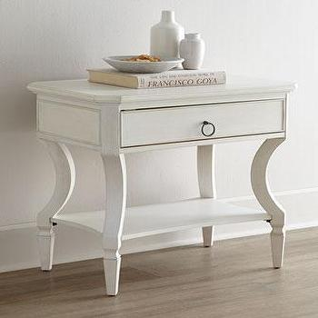 Storage Furniture - Edgewood Bedside Table I Neiman Marcus - white single drawer nightstand, white italian style nightstand, contemporary white bedside table, contemporary white nightstand,