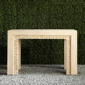 Tables - Outdoor Console Table I Neiman Marcus - outdoor greek key console table, outdoor console table, lacquered outdoor console table,