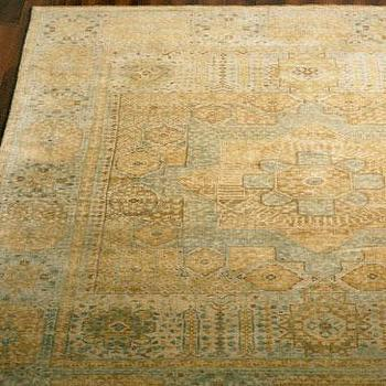 Rugs - Exquisite Rugs Nephia Say Rug I Neiman Marcus - blue and gold rug, blue and gold traditional rug, pale blue and gold area rug,