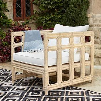 Seating - Faux-Bamboo Outdoor Chair & Cushion I Neiman Marcus - faux bamboo outdoor chair, faux bamboo outdoor armchair, faux bamboo lounge chair,
