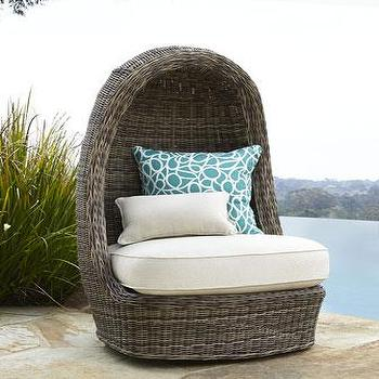 Seating - Summer Swivel Lounge Chair I Neiman Marcus - hooded swivel chair, rattan swivel chair, rattan swivel lounge chair, hooded rattan lounge chair,