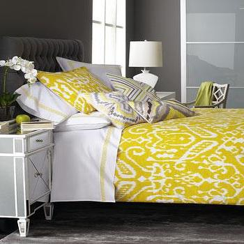 Bedding - Trina Turk Ikat Bed Linens I Neiman Marcus - yellow ikat bedding, yellow and white ikat bed linens, ikat bed linens, ikat bed linens,
