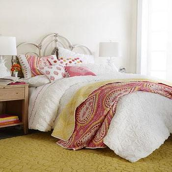 Bedding - Dena Home Camerina Bedding I Neiman Marcus - pink and yellow paisley bedding, pink and yellow paisley coverlet, pink and yellow paisley medallion bedding, paisley bedding, paisley coverlet,