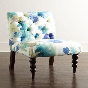 Seating - Paradiso Armless Chair I Neiman Marcus - blue and yellow floral chair, blue and yellow floral armless chair, blue and yellow tufted armless chair, floral tufted slipper chair,