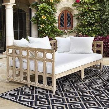 Seating - Faux-Bamboo Outdoor Sofa & Cushion Set I Neiman Marcus - faux bamboo outdoor furniture, faux bamboo outdoor sofa, outdoor sofa, faux bamboo outdoor seating,