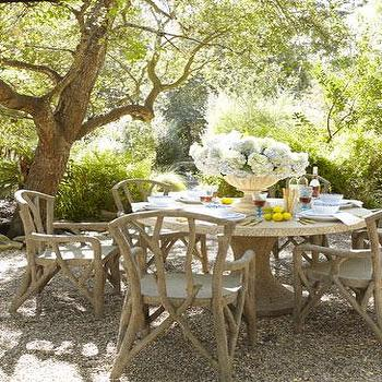 Tables - Artemis Outdoor Dining Furniture I Neiman Marcus - faux bois chairs, faux bois outdoor furniture, faux bois patio furniture, faux bois outdoor dining table,