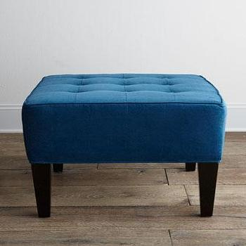 Seating - Hemingway Ottoman Stool I Neiman Marcus - teal ottoman, teal tufted ottoman, square shaped teal ottoman,