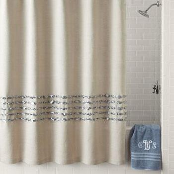 Bath - Dransfield & Ross House Condotti Shower Curtain I Neiman Marcus - linen shower curtain, linen shower curtain with satin ruffle, linen shower curtain with gray ruffle,