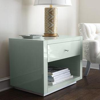 Storage Furniture - Ocean Glass Side Table I Neiman Marcus - pale green lacquered side table, mint green lacquered side table, sea green lacquered nightstand,