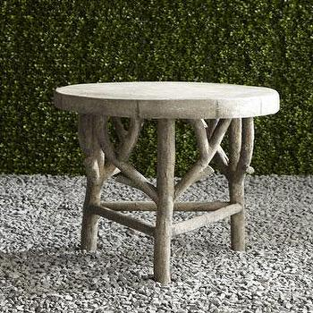 Tables - Artemis Faux Bois Side Table I Neiman Marcus - faux bois side table, faux bois outdoor side table, round faux bois side table,