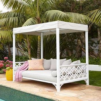 Beds/Headboards - Chinois Daybed I Neiman Marcus - chinoiserie daybed, white chinoiserie daybed, outdoor daybed, white outdoor daybed, outdoor chinoiserie daybed,