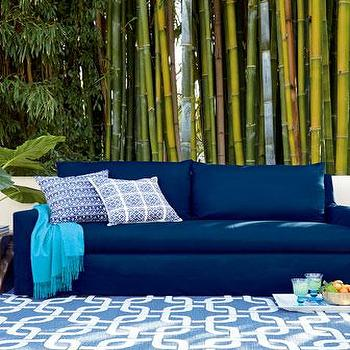 Seating - Elena Outdoor Sofa I Neiman Marcus - navy blue outdoor sofa, navy blue outdoor seating, outdoor sofa, upholstered outdoor sofa,