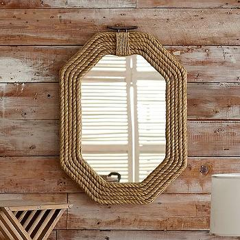 Mirrors - Pier 39 Mirror | Wisteria - braided rope mirror, octagonal rope mirror, rope framed mirror, nautical rope mirror,