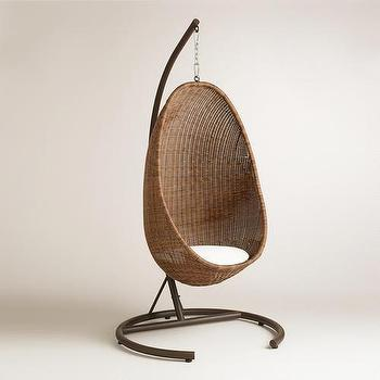 Seating - Hanging Egg Chair | World Market - hanging rattan chair, hanging egg chair, swinging wicker chair, hanging wicker chair,