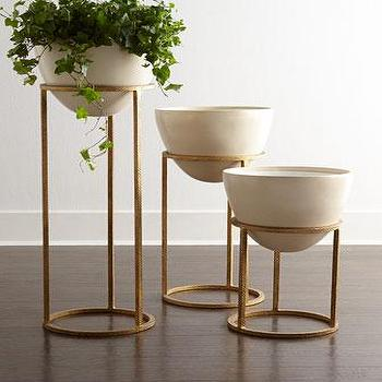 Decor/Accessories - Eliana Planter/Beverage Cooler I Neiman Marcus - antiqued gold planter, contemporary gold planter, antiqued gold raised planter,