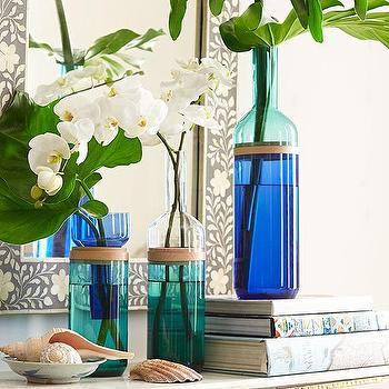 Decor/Accessories - Split-Top Bottle Vases | Wisteria - split top bottle vase, cobalt blue glass vase, blue split top vase, blue and turquoise vase,