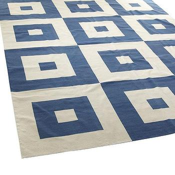 Rugs - Navy Not-So-Square Rug - 6x8 | Wisteria - navy and white geometric rug, navy and white block print rug, navy and white interlocking square rug,