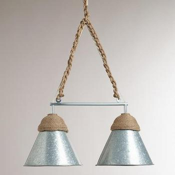 Lighting - Double Galvanized Metal and Rope Pendant Lamp | World Market - galvanized steel pendant lamp, galvanized metal pendant lamp, steel and rope pendant lamp, industrial pendant lamp,