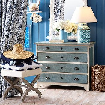 Storage Furniture - Americana Chest | Wisteria - blue and white chest, shabby chic chest, white chest with blue drawers, white chest with blue drawer fronts, blue and white shabby chic chest,