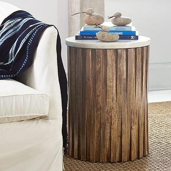 Tables - Marble Woods Side Table | Wisteria - round wooden side table, round marble topped side table, rustic wood marble topped side table, round wood and marble accent table,