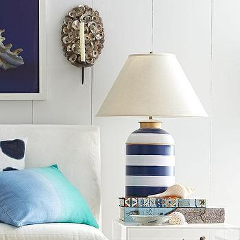 Lighting - Blue Peter Lamp | Wisteria - navy and white striped lamp, nautical striped lamp, navy and white table lamp,