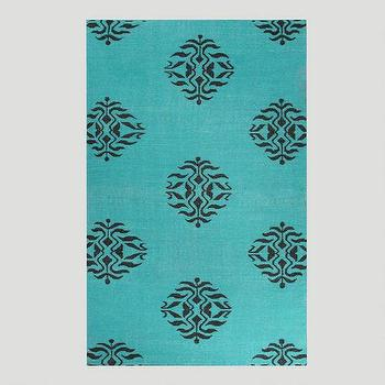 Rugs - Aqua and Black Medallion Flat-Woven Wool Rug | World Market - aqua and black medallion rug, turquoise and black medallion rug, turquoise and black rug, aqua and black rug,