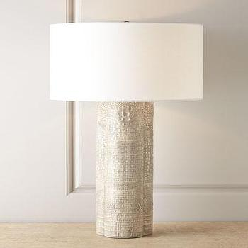 Lighting - Regina-Andrew Design Ramses Crocodile-Print Lamp I Neiman Marcus - gray faux croc lamp, gray faux crocodile lamp, contemporary faux crocodile lamp,
