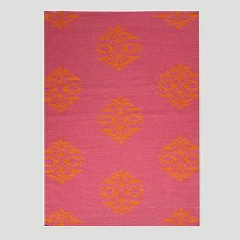 Rugs - Pink and Orange Medallion Flat-Woven Wool Rug | World Market - hot pink and orange rug, pink and orange medallion rug, pink and orange flat woven rug,