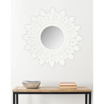 Mirrors - Safavieh Sunburt King White Mirror | Overstock.com - white sunburst mirror, white sun shaped mirror, white wall mirror,