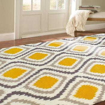 Rugs - nuLOOM Handmade Modern Ikat Rug (5' x 8') | Overstock.com - yellow and gray rug, yellow and gray ikat rug, yellow and gray modern ikat rug,