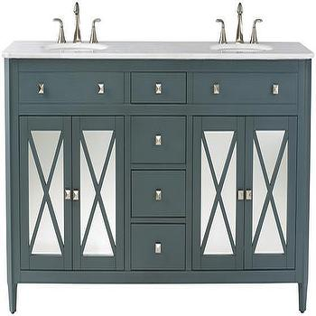 Bath - Barcelona Double Bath Vanity | HomeDecorators.com - teal mirror front dual sink vanity, teal mirror front double sink vanity, teal marble topped vanity, mirror front sink vanity,