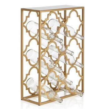 Decor/Accessories - Meridian Wine Rack | Z Gallerie - gold quatrefoil wine rack, quatrefoil wine rack, gold mirrored quatrefoil wine rack,