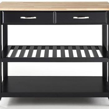 Storage Furniture - Kitchen Cart with Optional Stool Storage | HomeDecorators.com - black kitchen cart, kitchen island on wheels, black kitchen island on castors, black kitchen cart on castors,